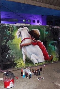 """Common love shared with people passing by """"cachorro. Sipros""""Common love shared with people passing by """"cachorro. Murals Street Art, 3d Street Art, Graffiti Wall Art, Urban Street Art, Amazing Street Art, Street Art Graffiti, Mural Art, Street Artists, Graffiti Artists"""