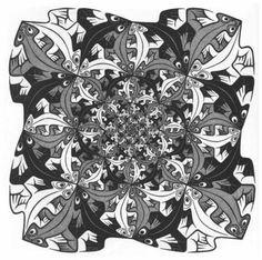 Maurits Cornelis Escher >> Plus en plus petits  |  (lithographie, reproduction, copie, tableau, oeuvre, peinture).