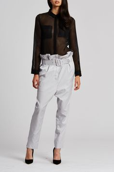 This fluid style is created from a sheer stripe and cut for a loose fit. Two front pockets are double layered to give coverage to the bust and is finished with a covered button placket. The back opens from the yoke and is held in place by lace up detailing and D-rings. Tuck yours into high waisted pants or shorts and add heels to finish. - Sheer striped shirt with open lace up back - Button down front - Double layered front pockets for bust coverage Fabric    Sizes are Australian. AUS 4…