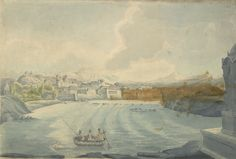 Water-colour painting of the river at Pune with the hill of Parvati in the background by John Johnson