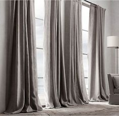 Check out the Belgian Textured Linen Drapery in Curtains & Window Coverings, Fabrics & Linens from Restoration Hardware for Home Curtains, Grey Curtains, Curtains Living, Modern Curtains, Curtains With Blinds, Curtain Panels, Big Window Curtains, Cheap Curtains, Window Blinds