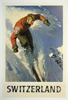 classic posters, free download, graphic design, retro prints, travel, travel posters, vintage, vintage posters, sports, skiing, Switzerland Skiing - Vintage Travel Sports Poster