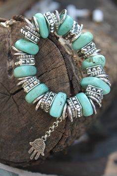 Chuncky Tribal stretch bracelet in turquoise &silver HAMSA healing hand Antique silver charm Protection Bohemian Gypsy statement piece