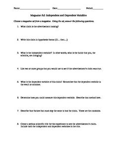 Worksheets Independent Vs Dependent Variable Worksheet green follow me and student on pinterest independent dependent variables with magazine ads free because its a doc