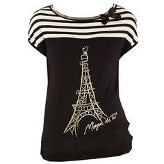 Affirmez votre amour pour la mode avec ce t-shirt aux manches courtes évasées aux rayures et sérigraphies tendance. Col avec noeud rayures sérigraphie Paris. Le plus mode: à porter avec une ceinture fine pour marquer la taille.