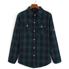 SheIn(sheinside) Blue Green Lapel Long Sleeve Plaid Checkered Blouse ($9.90) ❤ liked on Polyvore featuring tops, blouses, t o p s, multi color, blue plaid blouse, green top, green blouse, blue long sleeve blouse and long sleeve cotton tops
