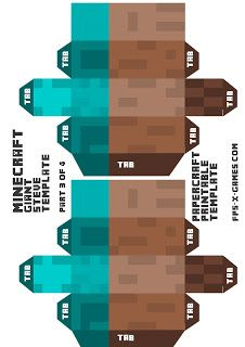 Minecraft giant Steve arms papercraft template 3-4
