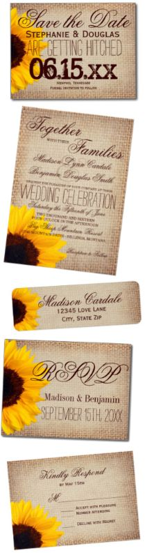 Sunflower and Burlap Wedding Invitation Set with a vintage printed burlap design with a beautiful sunflower.  Save 40% OFF when you order 100+ Invites.  Perfect for a rustic country wedding.  #sunflowers #wedding #countrywedding
