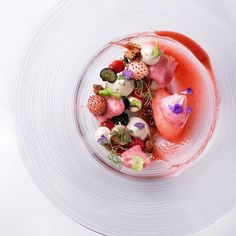 Dulcey Whipped Ganache , wild Strawberries, champagne strawberry sorbet…