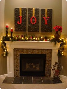 26 Amazing DIY Fireplace Mantel Christmas Makeovers- Love it