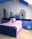 Vinyl Wall Decal Sticker Ferris Wheel and Roller Coaster #OS_AA1051 Roller Coaster Decorations, Wall Decal Sticker, Luxurious Bedrooms, Textured Walls, Ferris Wheel, Toddler Bed, Room Decor, Furniture