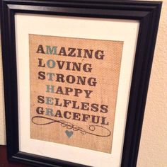 Mother's Day gift / present - Burlap Print for Mom / Mother or Grandma / Grandmother / Nana on Etsy, $25.00