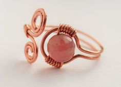 diy wirewrapped copper ring with ruby, https://www.facebook.com/craftmaniacsss/