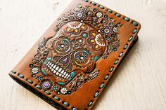 Ready to Ship  Leather Passport Cover  Sugar Skull by MesaDreams