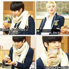 He grows potatoes. <<< He's my favorite Nu'est oppa. Selca, Nu Est Minhyun, Ulzzang, Nu'est Jr, U Kiss, Love K, Man Bun, Korean Music, Tvxq