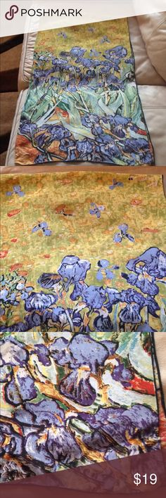 """Van Gogh Iris long scarf  60""""x16"""" silk charmeuse Glossy on front; matte on back. My Grandmother was a world traveler and picked up this scarf while in Europe. Very nice condition. Accessories Scarves & Wraps"""