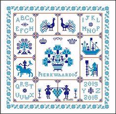 Free Cross Stitch Pattern - Blue Motif