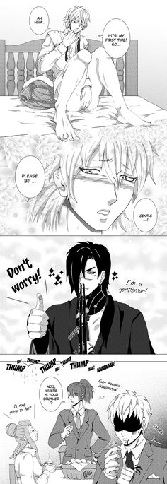 "Dmmd - ""Please, be gentle!"" #dmmd #dramaticalmurder #yaoi #koujaku #noiz #theo #aoba #koujakuxtheo #nsfw"