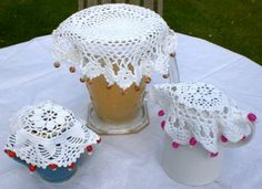 "Summer drink/pitcher covers; I used to sell these and they sold very well.  An ""old-timey"" craft making a re-appearance."