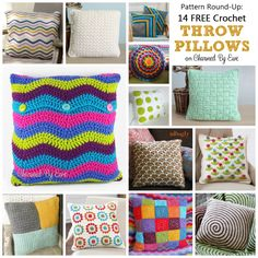 Pattern Round-Up: 14 FREE Patterns for Throw Pillows.  Nice to have all the links in one place.   . . .  ღTrish W ~ http://www.pinterest.com/trishw/  . . . #crochet #cushion