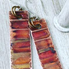 Copper Earrings, Copper Jewelry, Enamels, Jewellery, Jewels, Vitreous Enamel, Enamel, Schmuck, Tooth Enamel