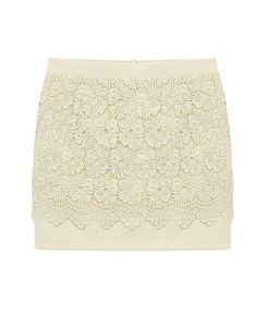 Skinny Hollow Out Floral Mini Skirt