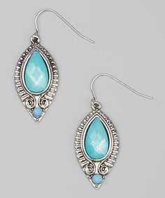 Another great find on #zulily! Silver & Turquoise Framed Teardrop Earrings by Treska #zulilyfinds