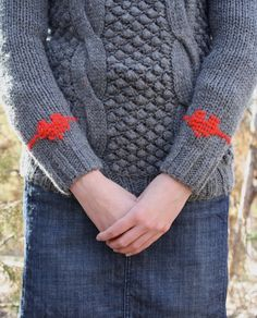 one sheepish girl: Sweater Makeover - Duplicate Stitch Heart Elbow Patches