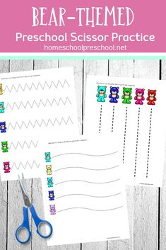 These preschool worksheets provide much-needed cutting practice for little hands. They provide an opportunity to build fine motor skills. Preschool Color Activities, Rainy Day Activities For Kids, Preschool Arts And Crafts, Preschool Education, Preschool Printables, Preschool Worksheets, Preschool Ideas, Free Printables, Scissor Practice