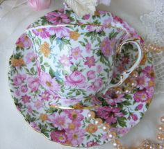 Pink Shabby Chintz Porcelain TEA CUP & SAUCER Set