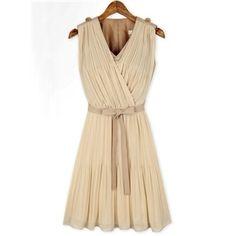 Apricot Sleeveless V Neck Belt Pleated Dress | berlinmo