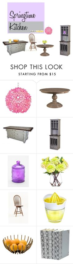 """""""Springtime Kitchen"""" by dutchcrafters ❤ liked on Polyvore featuring interior, interiors, interior design, home, home decor, interior decorating, Worlds Away, DutchCrafters, Urban Outfitters and Lux-Art Silks"""