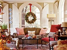 interior design, christmas wreaths, christmas time, living rooms, window, color, blue room, architecture interiors, shutter