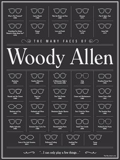 "The Many Faces of Woody Allen - by Brandon Schaefer, a poster for the Gallery1988 x Funny or Die ""Is This Thing On?"" show in LA. Prints available at G1988. Brilliant!"