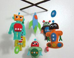 "Baby Mobile - baby boy robots Crib Mobile - ""Robot Story""  - Handmade Nursery Mobile (Match your bedding)"