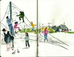 6. Go to your local playground and draw the kiddos at play using large splotchy, chunk shapes.  ARTIST: Marina Grechanik