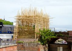 Bamboo lattice by Gabriel Lester perches over a Folkestone viaduct