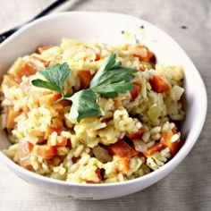 Risotto with carrots and feta...creamy delicious without the cream.