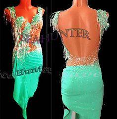 Bead Fringes  Sexy Ballroom Latin Rhythm Rumba US 10 Dance Dress#L2353 green