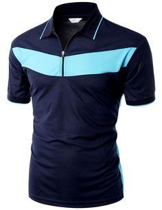 Doublju Men's 2 Tone Pattern Coolmax Fabric Short Sleeve Polo T-Shirt… Polo Shirt Outfits, Mens Polo T Shirts, Golf Shirts, Camisa Polo, Moda Converse, African Wear Styles For Men, Look Fashion, Cool T Shirts, Shirt Designs