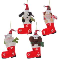 """RAZ Cat and Dog in a Stocking Ornament Set of 4  Assorted ornaments Set includes one of each style Red, White Made of Felt Measures 8"""""""