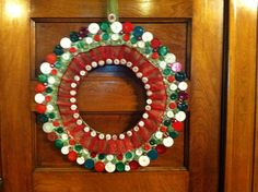 """""""Holiday Button"""" Wreath created by          Sunnybrook of Muscatine"""