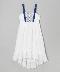 Look at this #zulilyfind! White & Blue Lace Hi-Low Dress by Speechless #zulilyfinds