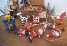 9 Vintage Wooden Christmas ornaments Hand by MamaLisasCottage