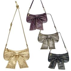 Small Handbag with Large Bow & Studs Bow Wow, All Gifts, Small Handbags, Online Gifts, Studs, Feminine, Bows, Jewelry, Fashion