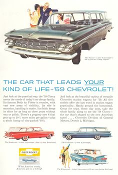 Chevrolet Impala 1959 station wagons: Nomad 4-door 6-passenger, Brookwood 2- or 4-d. 6-p., Parkwood 4-d. 6-p., Kingwood 4-d. 9-p.