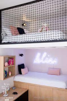 DANS LE FILET Realization WOM Design – Stéphanie MICHEL-GIRARD Photo credit © Isabelle Picarel Room with mezzanine renovated for a teenage girl around a feminine and airy atmosphere # filet # mezzanine # room # adolescent # menuiseriessurmesure # menuis Cute Bedroom Ideas, Room Ideas Bedroom, Small Room Bedroom, Awesome Bedrooms, Bedroom Decor, Childs Bedroom, Bed Room, Room Design Bedroom, Girl Bedroom Designs