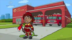 A Smiling Firefighter Holding A Fire Hose And An Ax At A Fire Station :  A black (African American) man with dark hair wearing a dark red firefighter hat red orange and gray uniform gear black boots smiles while holding the gray nozzle of a green fire hose in his left hand as his right hand holds a red ax with wooden handle. Set in outside a building with red walls fire station logo two garage with two red fire trucks parked inside a gray road leading to the garage green grass and bushes and…