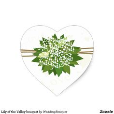 Lily of the Valley bouquet Heart Sticker