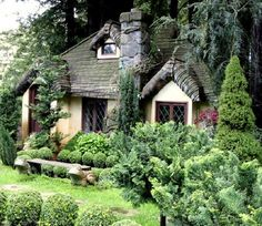 storybook cottage with steam bent shingles Storybook Homes, Storybook Cottage, Cute Cottage, Cottage Style, Cabana, Fairytale Cottage, Fairytale Castle, Thatched Roof, Cabins And Cottages